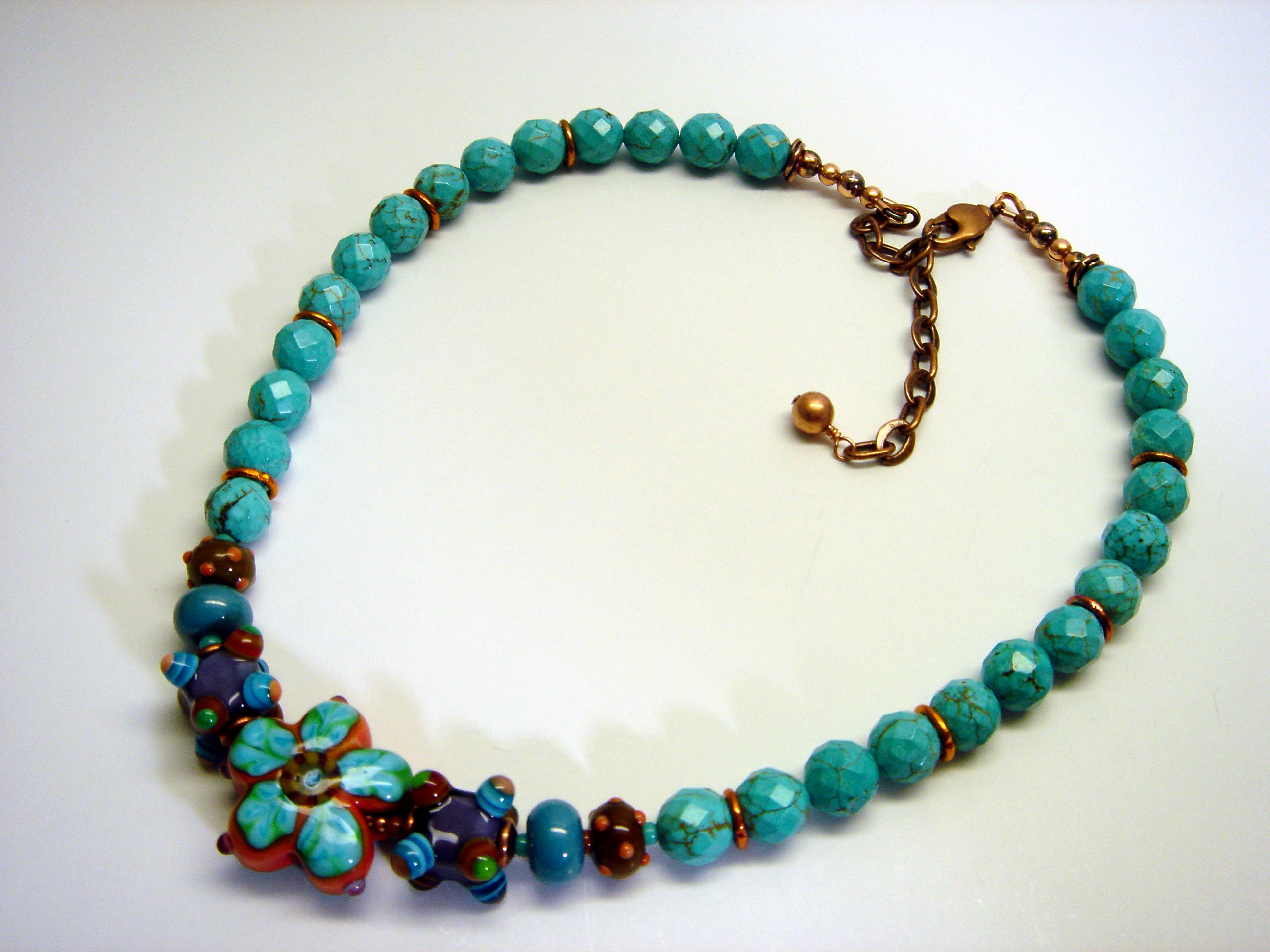 graduated necklace fullxfull beads deco millefiori italian murano caps il brass glass p bead filigree vintage art oval